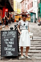 white clutch H&M bag - lime green embellished Topshop sunglasses