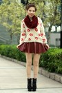 Black-suede-lace-up-boots-off-white-sweater-maroon-h-m-scarf