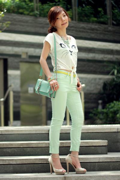 white t-shirt - aquamarine H&M jeans - aquamarine satchel bag - yellow belt