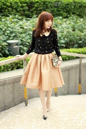 gold full midi skirt Choies skirt - bronze beaded owl Accessorize bag