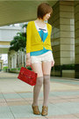 Turquoise-blue-top-brown-lace-up-oxfords-shoes-ruby-red-satchel-bag