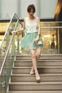 Choies-bag-aquamarine-skirt-silver-bershka-heels-white-sheinside-top