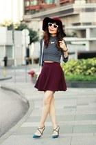 maroon skater H&M skirt - maroon Topshop hat - white Zara sunglasses