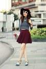 Maroon-topshop-hat-white-zara-sunglasses-teal-christian-louboutin-heels