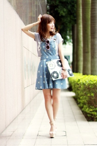 white gold necklace - light blue Choies dress - light pink snupped bag