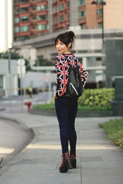 maroon lace up Topshop boots - navy EMODA jeans - black Topshop bag