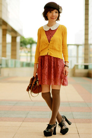 mustard knitted no brand cardigan - coral lace H&M dress - dark brown Lids hat