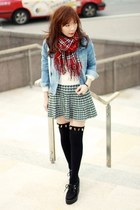 ruby red tartan scarf - light blue denim Sheinside jacket
