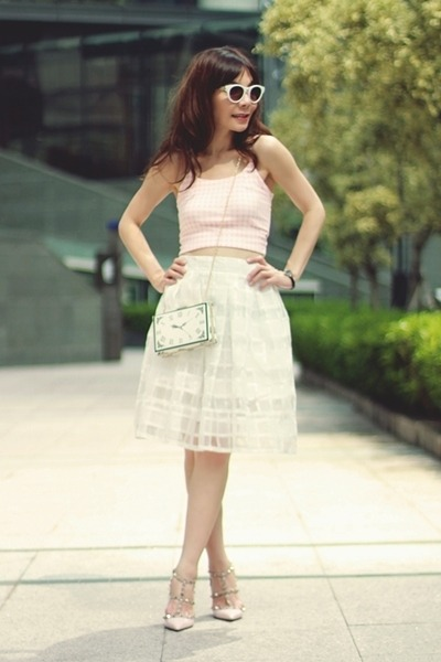 white Choies bag - white Topshop sunglasses - light pink Sheinside top