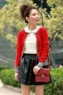 Red-wool-lowrys-farm-cardigan-black-jeffrey-campbell-shoes-maroon-h-m-bag