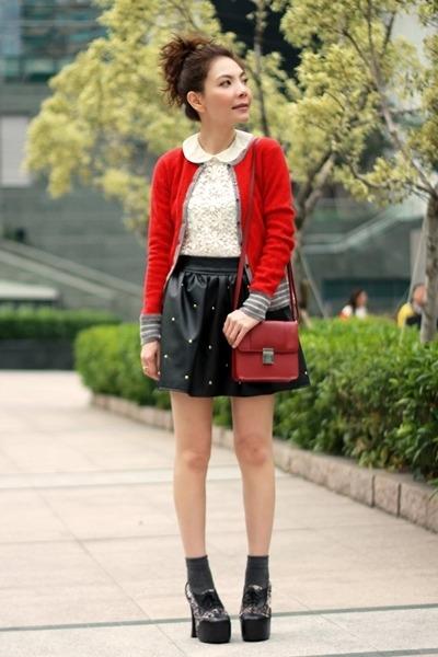 red wool lowrys farm cardigan - black Jeffrey Campbell shoes - maroon H&M bag