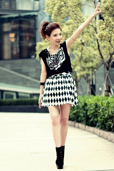 white checkered skirt - black suede lace-up boots - black spikes bracelet