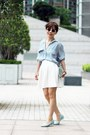 Blue-stripes-pockets-zara-shirt-white-charlotte-olympia-bag