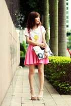 bubble gum pinafore Sheinside skirt - white snupped bag