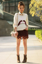 light pink RED valentino bag - heather gray suede Zara boots