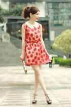 red floral lace dress - bronze bag - off white H&M accessories