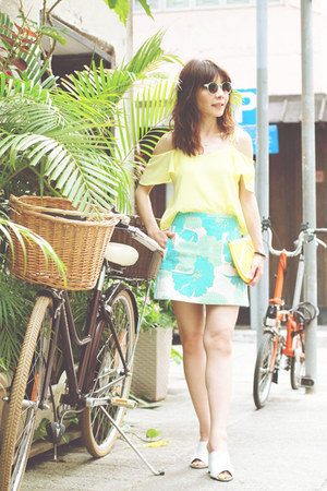 lime green embellished Topshop sunglasses - yellow lemon clutch Monki bag