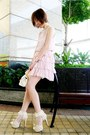 White-polka-dots-socks-light-pink-chiffon-ruffles-dress-off-white-bag