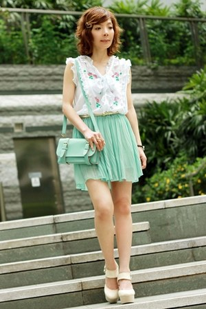 aquamarine pleated skirt - aquamarine satchel bag - white blouse