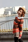 Camel-bowler-hat-carrot-orange-striped-collect-point-sweater