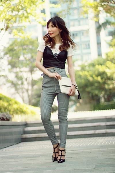 black satin bra top Choies intimate - white clutch H&M bag