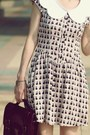 Eggshell-cat-prints-h-m-dress-dark-brown-lids-hat-dark-brown-satchel-bag