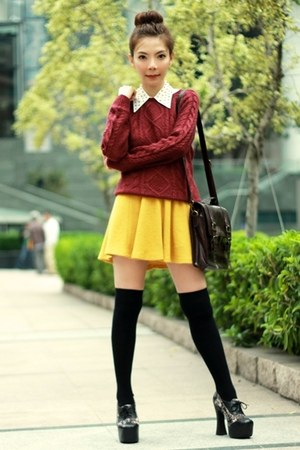 mustard skirt - black suede lace up Jeffrey Campbell shoes - maroon H&M sweater