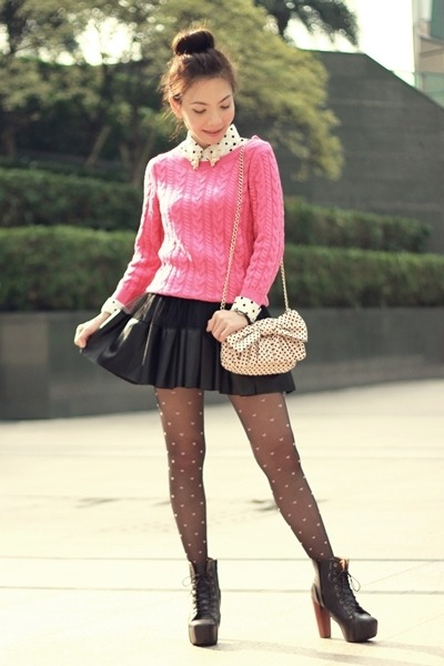Hot Pink Knit H&M Sweaters, White Shirts, Black Pink Hearts Tights ...