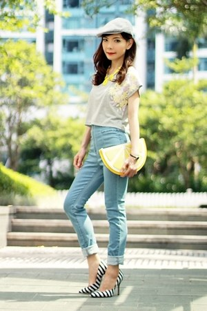yellow lemon clutch Monki bag - light blue high waisted Spiral girl jeans