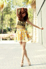 Dark-khaki-bershka-top-white-gold-necklace-yellow-sheinside-skirt