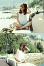 Turquoise-blue-lace-shorts-aquamarine-h-m-sunglasses