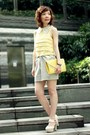 Silver-tulip-skirt-h-m-shirt-light-yellow-2-tone-clutch-bag