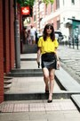 Yellow-zara-shirt-white-clutch-h-m-bag-dark-brown-cat-eye-topshop-sunglasses