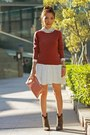 White-shirt-heather-gray-suede-zara-boots-maroon-h-m-sweater