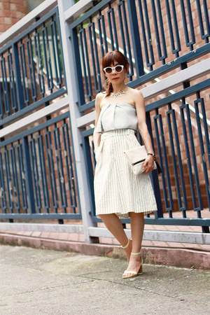 white clutch H&M bag - white Zara sunglasses - light yellow Zara heels