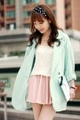 Aquamarine-one-way-blazer-light-blue-clutch-kate-spade-bag-light-pink-skirt