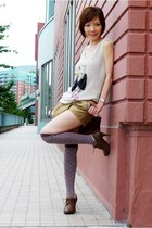 beige sequined bows top - dark brown shoes - dark khaki shorts - brown socks