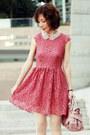 Coral-lace-h-m-dress-light-pink-bow-satchel-miu-miu-bag
