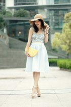 light blue full midi skirt Topshop skirt - tan floppy hat H&M hat