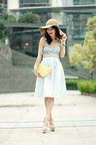 light blue full midi skirt Topshop skirt - tan floppy hat H&M hat