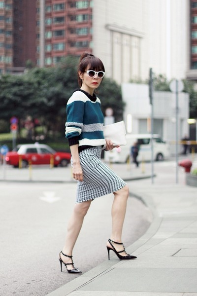 black Rose & Libby skirt - teal colour block Murua sweater