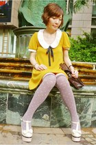 ivory bow mary-janes heels - mustard dress - dark brown satchel bag