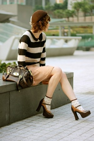 black striped sweater H&M sweater - beige H&M dress - dark brown hat