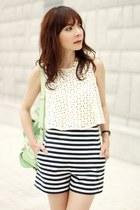 navy Zara shorts - aquamarine backpack Choies bag - off white Zara top