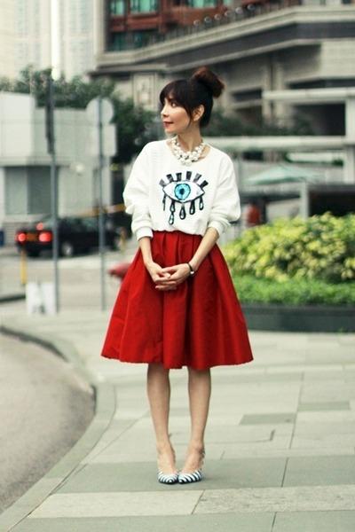 red full midi skirt Choies skirt - black white stripes paul andrew heels