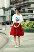 red full midi skirt Choies skirt - black white stripes paul andrew heels