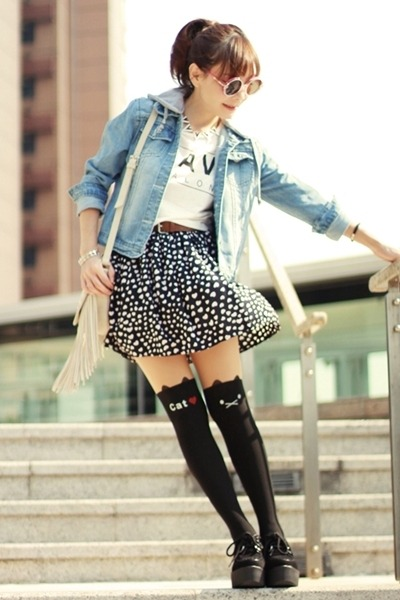 light blue Sheinside jacket - black cat print tights
