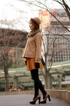 camel coat - camel bowler hat - dark brown satchel bag - dark brown heels