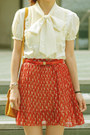 Red-cats-print-skirt-mustard-bag-red-heels-eggshell-pussy-bow-blouse