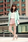Light-pink-skirt-aquamarine-one-way-blazer-light-blue-clutch-kate-spade-bag